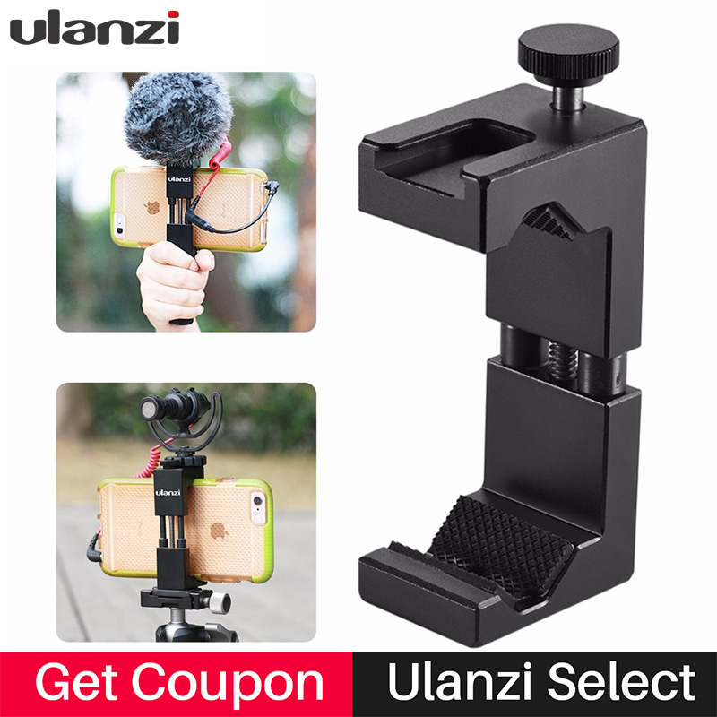 Ulanzi Updated Phone Tripod Mount with Hot Shoe compatible with led camera light/microphone for youtube Vlogging Video Makers