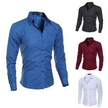 New Men Shirt Formal Business Long Sleeve Turn down Collar Male Shirts Slim Fit Popular Designs