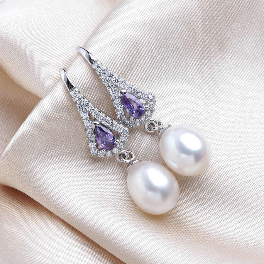 High Luster Natural Freshwater Pearl Drop Earrings Women Fashion Zircon 925 Sterling Silver Wedding Jewelry Handmade With Box