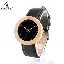 BOBO BIRD Wooden Mujer Watches Fashion Women Black Dial Acupuncture Needle with Leather Band Unisex Clock in Gift Box