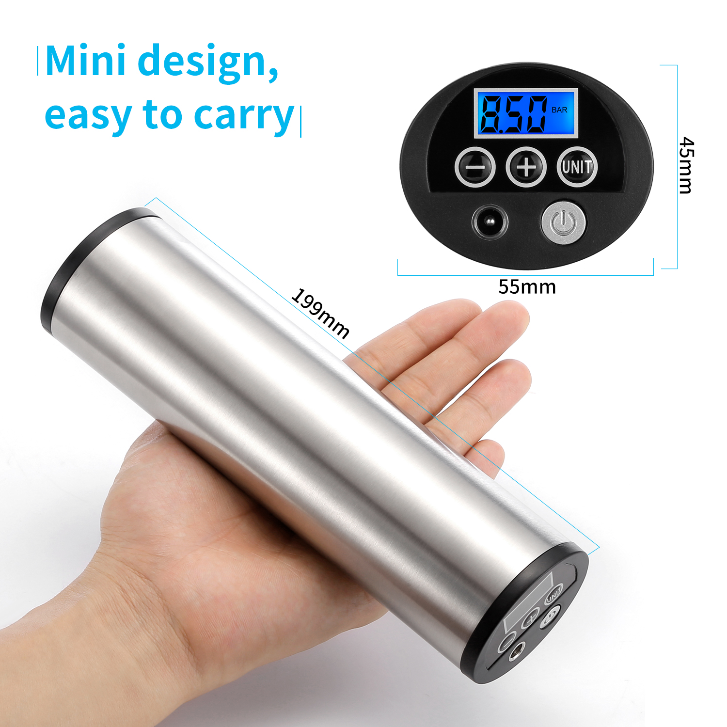 Rechargeable Electric Air Pump with Pressure Gauge for Bike and Car Tire 2