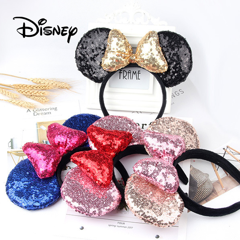 Disney High Quality Girl Clothing Accessories Cute Mickey Headband Mickey Mouse Sequin Headband Hairpin Party Decoration
