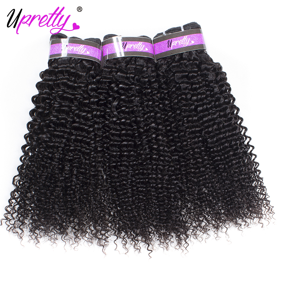 Upretty Hair Brazilian Kinky Curly Hair Weave Bundles 3PCS/LOT 100% Human Hair Kinky Curly Bundles Natural Color 8-28 Inch Mixed