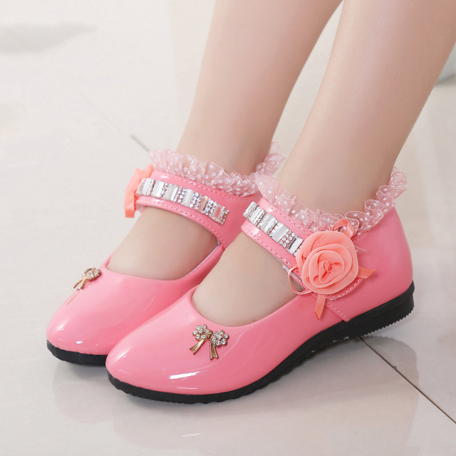 2017 beautiful girl's shoes lace diamond princess shoes girls leather shoes, antiskid soft-soled fashion leather shoes girls