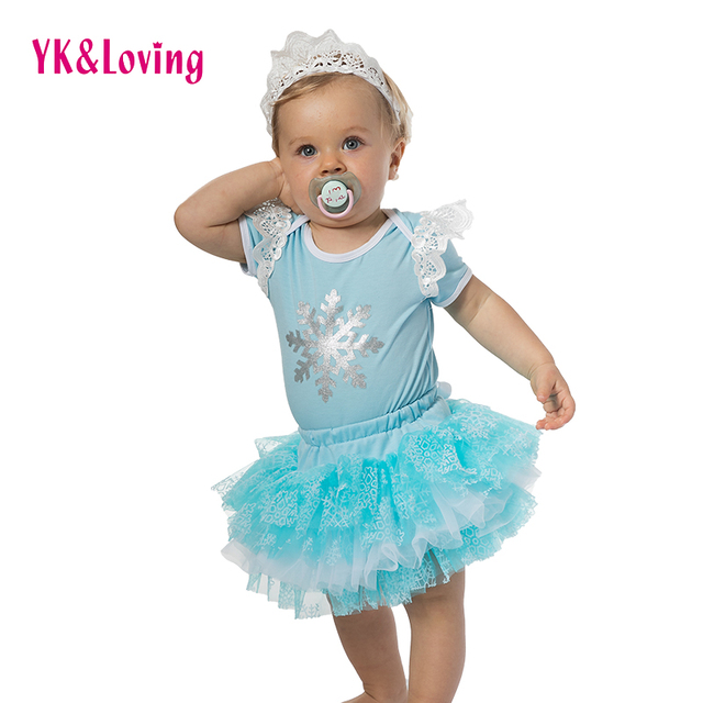 Snowflake Blue Short Clothing Sets 2016 O-Neck Wholesale Baby Girls Romper with Tutu Skirt Novelty Free Shipping Clothes Sets  A