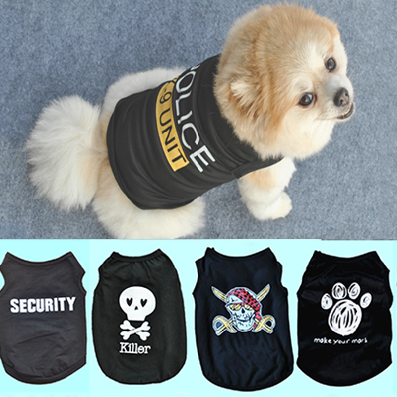 1PC High Quality Unisex Pet Dog Clothes Soft Cotton Pet T Shirt Vest Summer Puppy Cat Clothing Vest Black