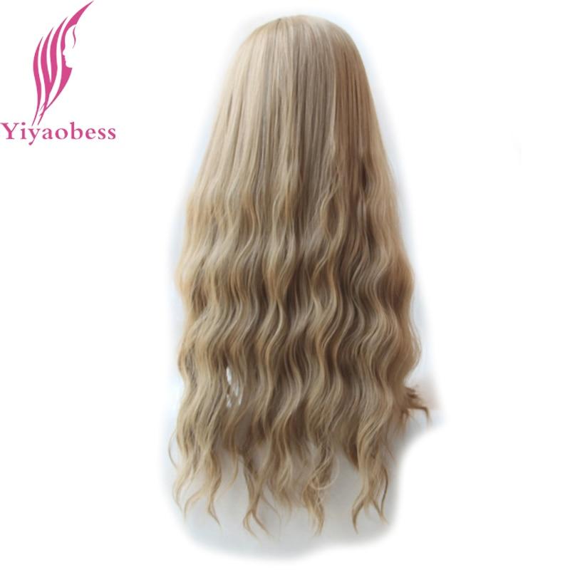 Yiyaobess 65cm långa wavy peruker med bangs värmebeständig - Syntetiskt hår - Foto 3