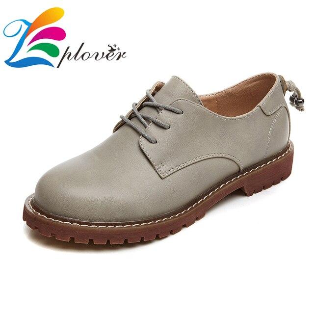 Zplover Оксфорд Обувь Квартир Женщин Новая Весна 2017 Мода Натуральной Кожи Женская Обувь мокасины sapatos femininos zapatos mujer