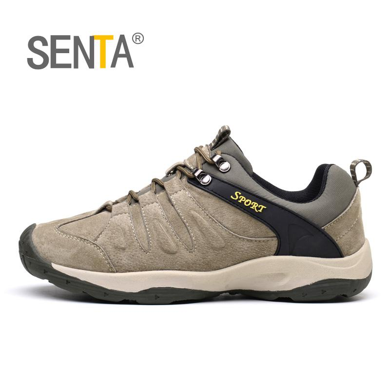 SENTA Men Mountain Hiking Shoes Big Size Leather Hunting Boots Autumn Winter Mens Outdoor Sport Shoes