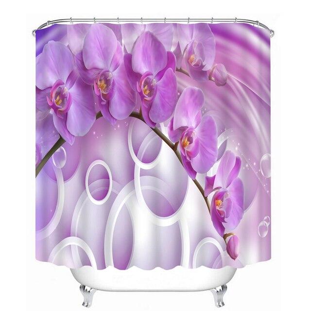 New Shower Curtains Circle Purple Flowers Pattern Bathroom Waterproof Thicken Washable Bath Curtain