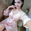 Spring Summer Female Sexy Silk Flower Nightdress Suits Lace Robe Nightgown Sets Lady Chinese Floral Nightwear Women Lingerie