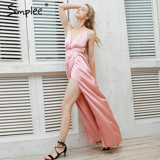 Simplee slip satén backless largo atractivo dress pijamas de las mujeres summer dress del partido de tarde elegante negro maxi vestidos vestidos