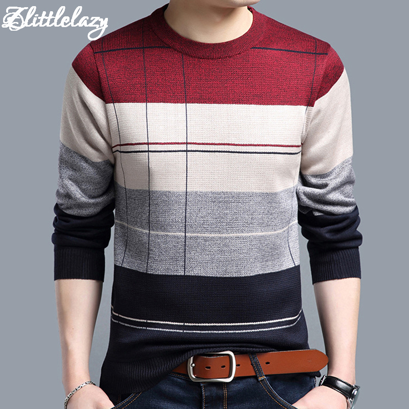 2018 brand social cotton thin men's pullover sweaters casual crocheted striped knitted sweater men masculino jersey clothes 5066