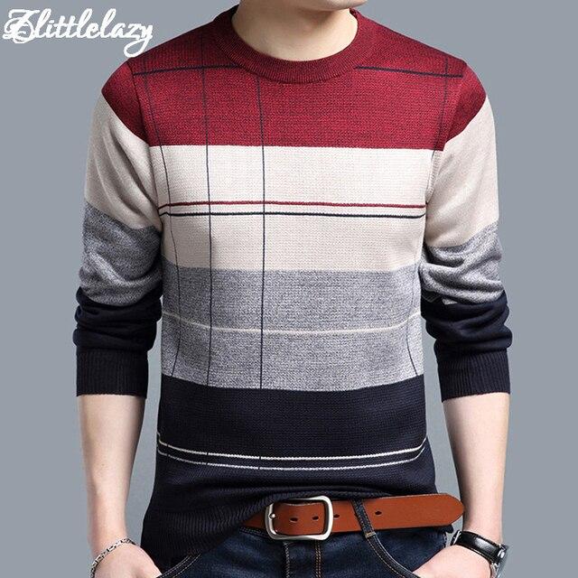 2018 marca dos homens finos de algodão sociais sweaters pulôver crocheted listrado camisola de malha homens casuais masculino camisa roupas 5066