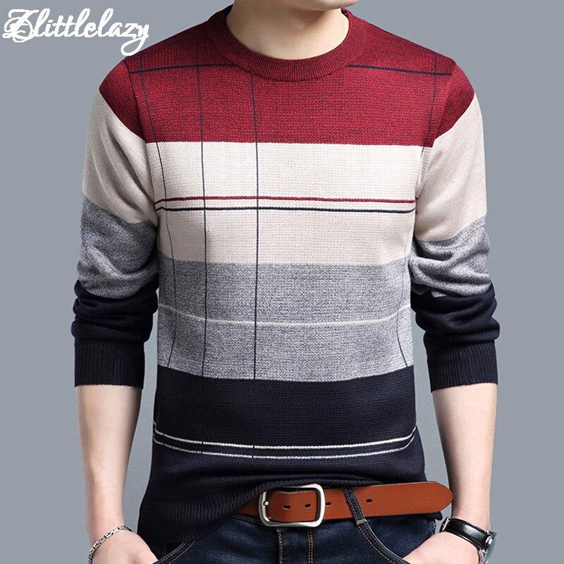 2018 marque sociale coton mince hommes de pull pull crochet rayé chandail tricoté hommes masculino jersey vêtements 5066