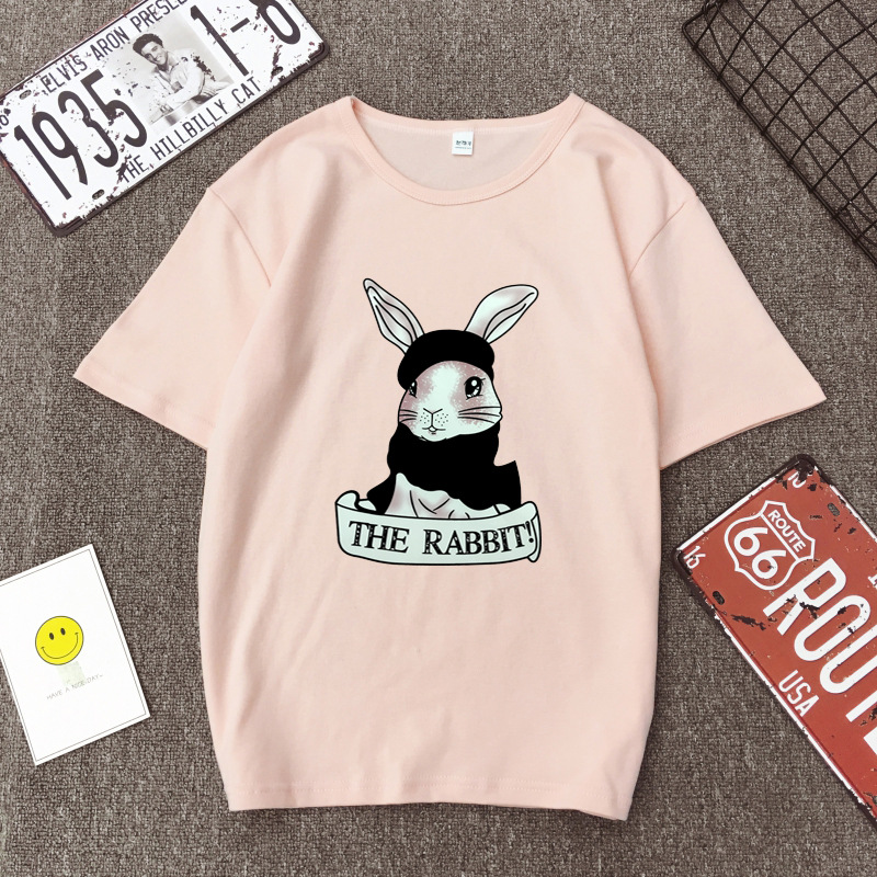 Cute Rabbit Print Women Tshirt High Quality Short Sleeve Round Neck Cotton Spandex Women Tops Casual Loose Women T-shirt 12