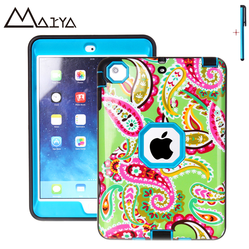 Case For iPad mini 123 Case Tablet Flower Three Layer Heavy Duty Armor Shockproof Silicon Hard Protective Shell For iPad mini 12 armor a80 компании silicon power в украине
