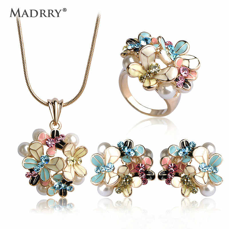 Madrry Fashion Dubai Jewelry Sets Gold Color Enamel Flower Pendant Necklace Earrings Ring For Women Simulated-pearl Anel Schmuck