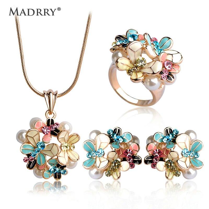 Madrry Mode Dubai Schmuck Sets Gold Farbe Emaille Blume Anhänger Halskette Ohrringe Ring Für Frauen simulierenperle Anel Schmuck