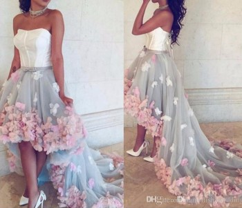 Arabic High Low Prom Dresses 2019 Sweetheart Soft Satin Tulle Party Pageant Gowns Hand Made Flowers Juniors Special Occasion