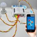 Interruptor WIFI inteligente 4-Gang Sonoff 4CH sem fio de 4 vias Interruptores de Montagem em Trilho Din de Automação Residencial