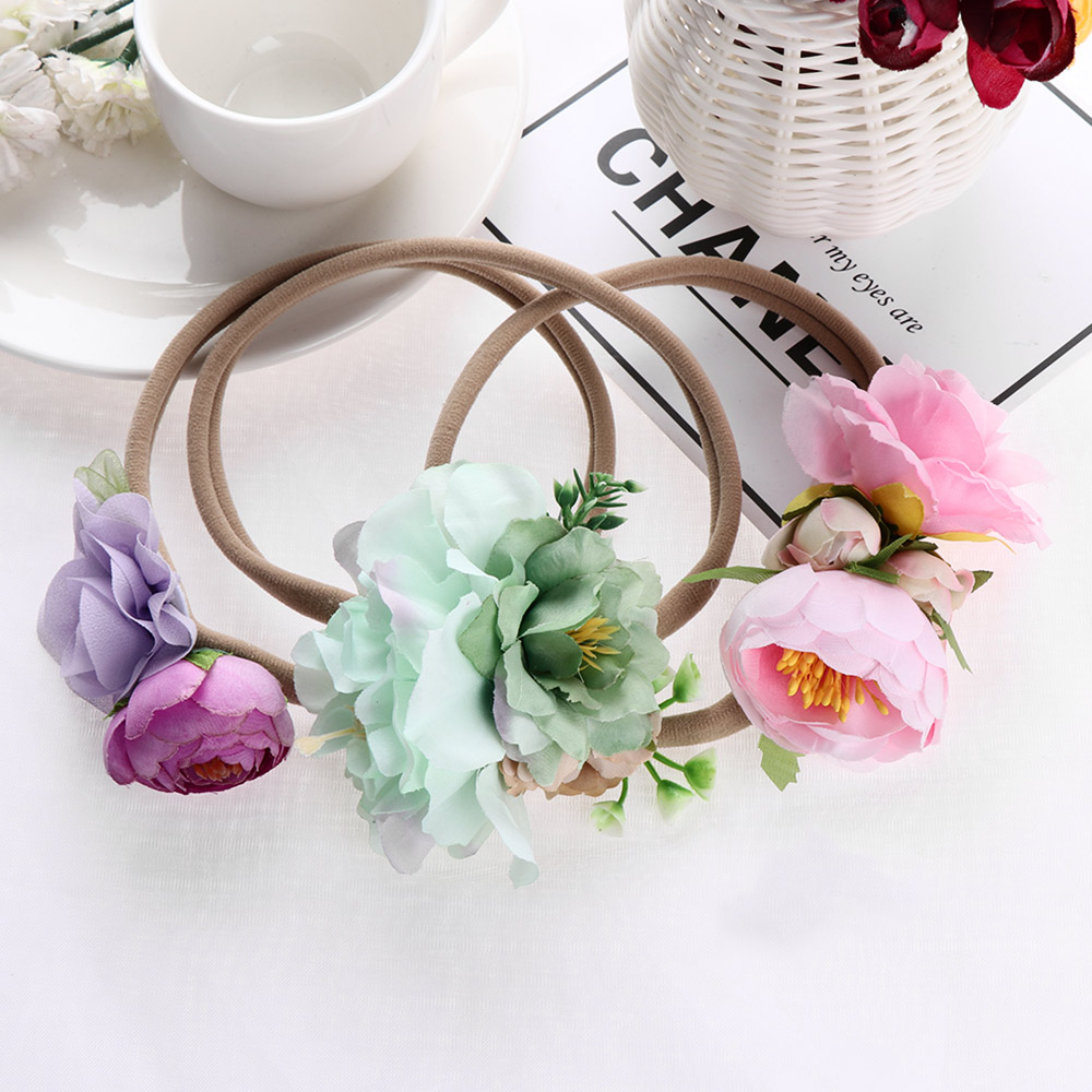 3Pcs/set Kids Colorful Flowers Headband Kids Girls Headdress Headband Cloth Headwear Photo Props Hair Band Hair Accessories
