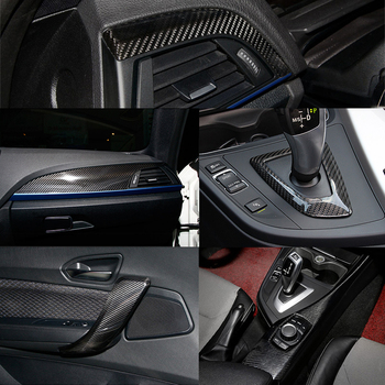 6pcs 100% Carbon Fiber Fit For BMW 2 Series F22 14-17 Gear Shift Full Cover Trim
