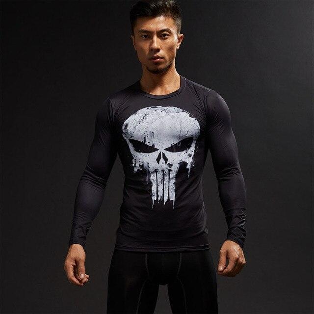 Dài Tay 3D T Áo Sơ Mi Nam T-Shirt Nam Crossfit Tee Captain America Superman áo thun Nam Tập Thể Dục Compression Áo Sơ Mi Punisher MMA