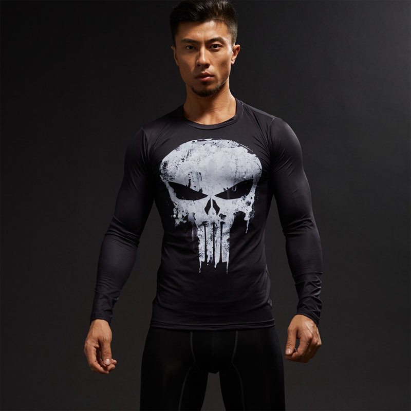 TUNSECHY Long Sleeve 3D T Shirt Men T-Shirt Male Tee Captain America Superman Tshirt Men Fitness Compression Shirt Punisher MMA