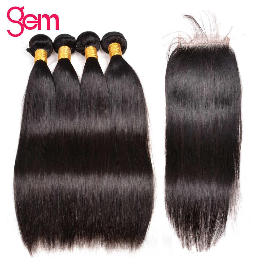Перуанские прямые пучки волос с закрытием человеческих волос Плетение 3/4 пучков с закрытием драгоценный камень красоты Remy человеческих волос для наращивания 1B