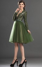 Vestido De Festa 2015 Newest Sexy Green Deep Tulle V-Neck Long Sleeve Lace Short Formal Evening Dresses Robe Soiree