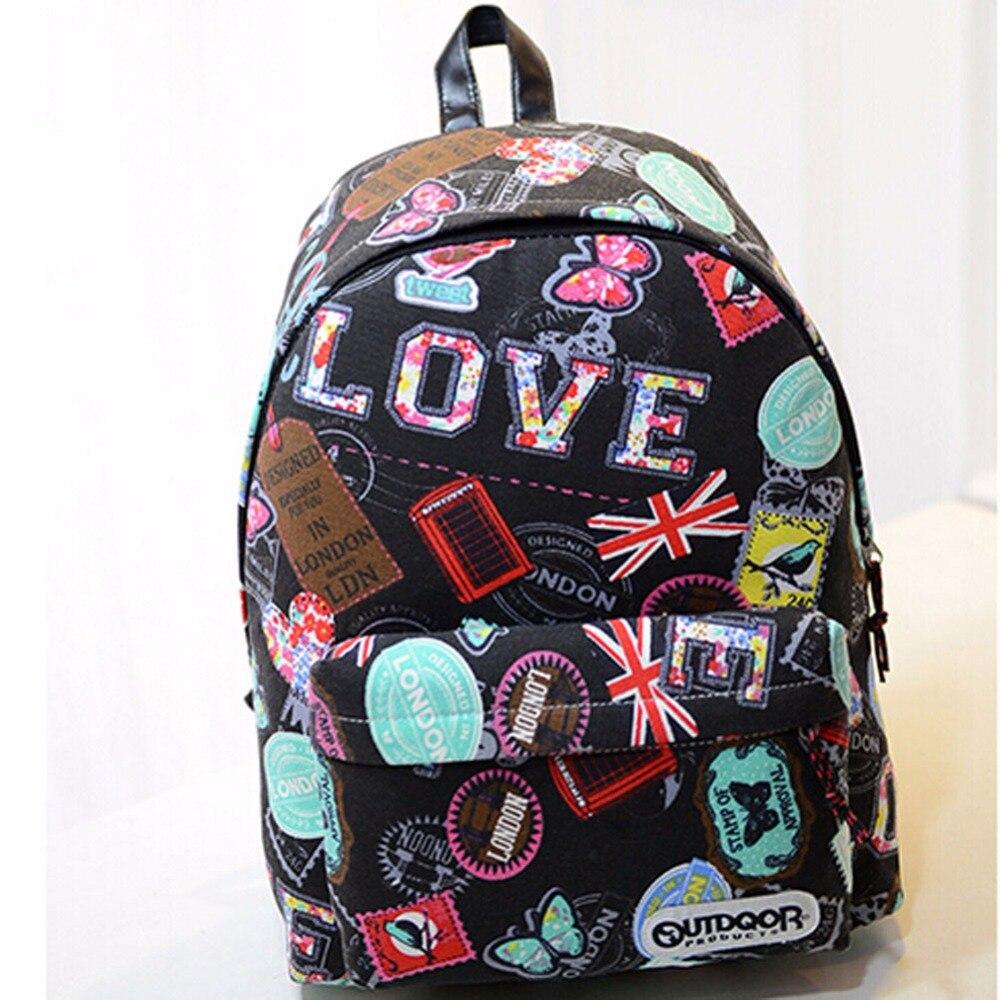 Casual Canvas Backpacks Student School Bag Graffiti Backpack YOUTH Cartoon Print Rucksack Travel Laptop Graffiti Bolsa