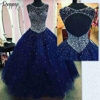 Роскошные Длинные бальные платья 2019 Пышное Бальное Платье Вырез ракушка сладкий 16 с бисером, темно синее синий 15 для Quincea