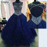 Luxury Long Quinceanera Dresses 2019 Puffy Ball Gown Scalloped Neckline Sweet 16 Beaded Navy Blue Blue 15 Dresses For Quincea