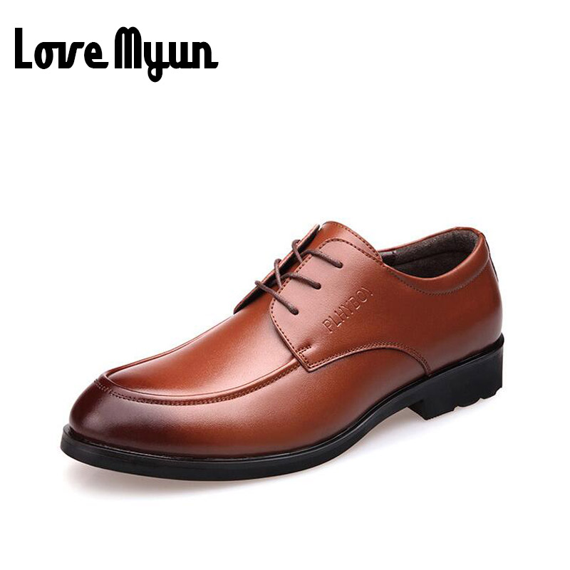 2017 Men Leather Shoes Male Lace up Round Toe WaterProof Fashion Soft Wedding Business Shoes