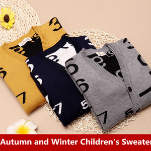 Image 1 - Boy V neck Sweaters Fashion Children s V collar Cotton Knitting Cardigans Teenage Boys Autumn Double Warm Sweater for Boys