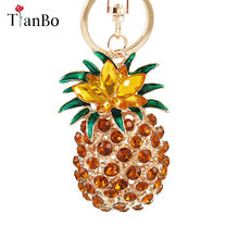 TianBo Fashion Crystal Fruit Big Pineapple Keychains for Women Bag