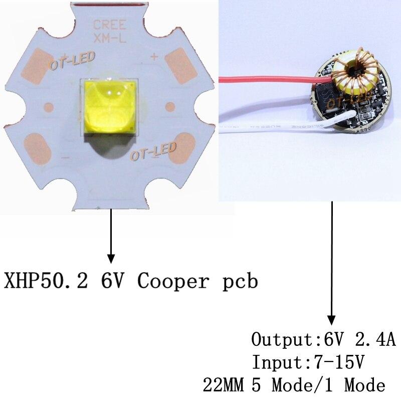 Newset cree XHP50.2 XHP50 2 Generación LED frío Blanco/blanco neutro LED emisor de diodo 20mm Cooper PCB + 22mm 5 MODO/1 conductor modo