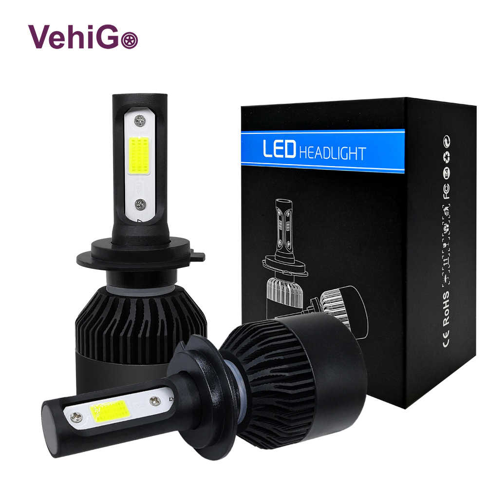 VehiGo H7 Car LED Light Bulb H1 H4 H7 H11 9005 9006 LED Auto Headlight Bulbs 12V/24V 6000K 8000LM 60W LED Lamp bulbs