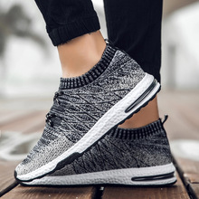 2019New flying woven mens shoes stretch running breathable sports tide