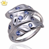 Hutang Natural Tanzanite Emerald Gemstone Solid 925 Sterling Silver Jewelry Party Special Leaf Design Rings For