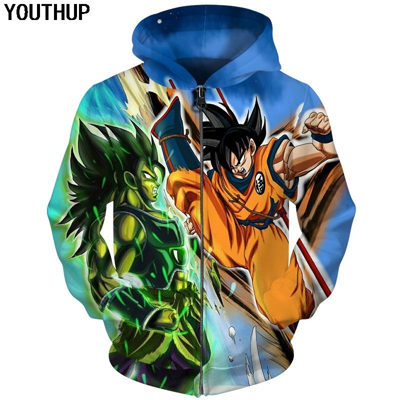 YOUTHUP 2018 New Dragon Ball 3D Hoodie Sweatshirts Men Hoodie Dragon Ball S Anime Fashion Tracksuits Boy Hooded Coat Plus Size