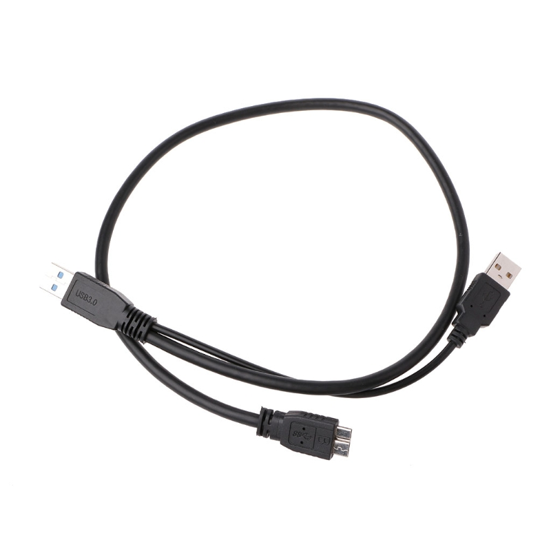 USB 3.0 Dual Power Y Shape 2 X Type A to Micro B Super Speed Cable External Hard Drives Extension Wire Connector ...