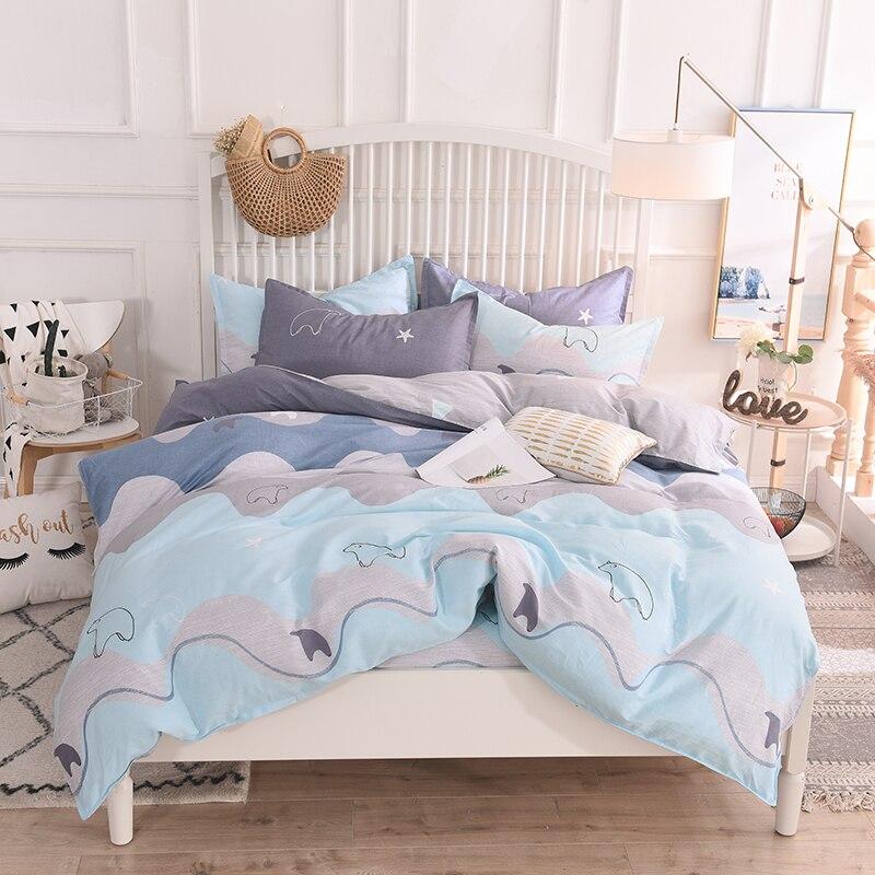 Cartoon Light Blue Penguin Pattern 100% Cotton Oriental 4pcs Bedding Set King Queen Size Bed Set Duvet Cover Bedsheet Pillowcase