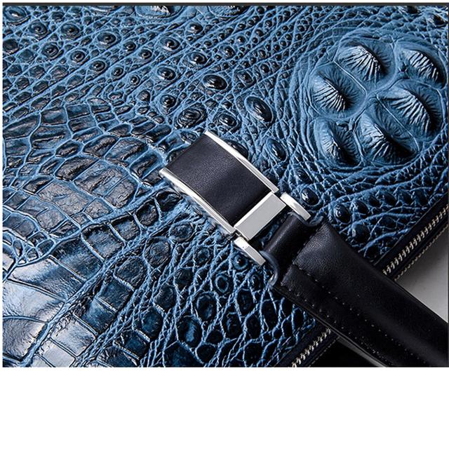 Famous brand design men's briefcase Luxury Crocodile pattern split leather briefcase male shoulder bag business tote bag handbag