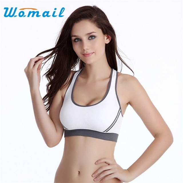 2017 Women Fitness Yoga Sports Bra For Running Gym Padded Wire free Shake proof Underwear Push Up Seamless Fitness Top Bras Drop
