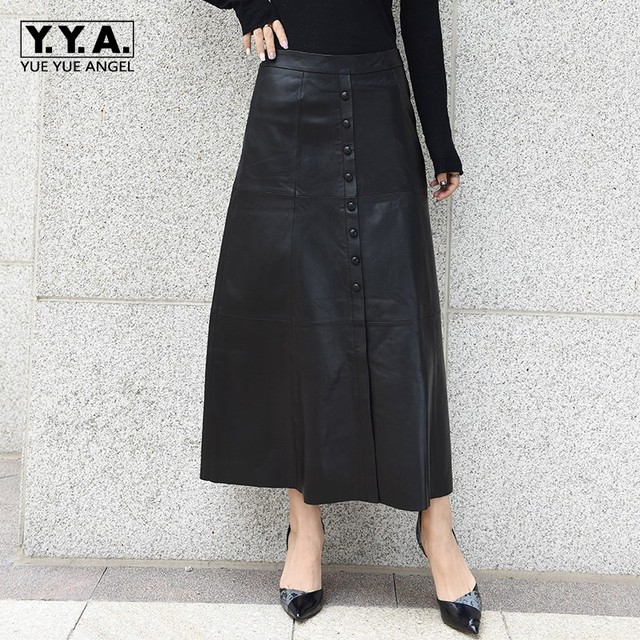 2019 High Quality Genuine Leather Woman Long Skirts Fashion Single Breasted Lady A Line Skirts Elegant Slim Party Leather Skirt