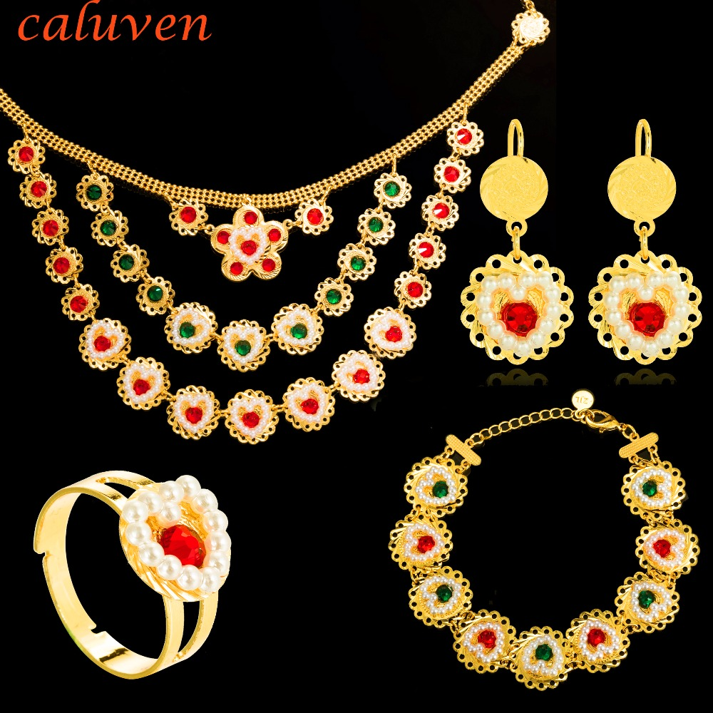 Heart Pearl Muslims Islamic Coin Jewelry Sets African Gold Colorful Stone Coin Middle East Women wedding Necklace Sets CE110Heart Pearl Muslims Islamic Coin Jewelry Sets African Gold Colorful Stone Coin Middle East Women wedding Necklace Sets CE110