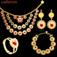 Heart Pearl Muslims Islamic Coin Jewelry Sets African Gold Colorful Stone Coin Middle East Women wedding Necklace Sets CE110