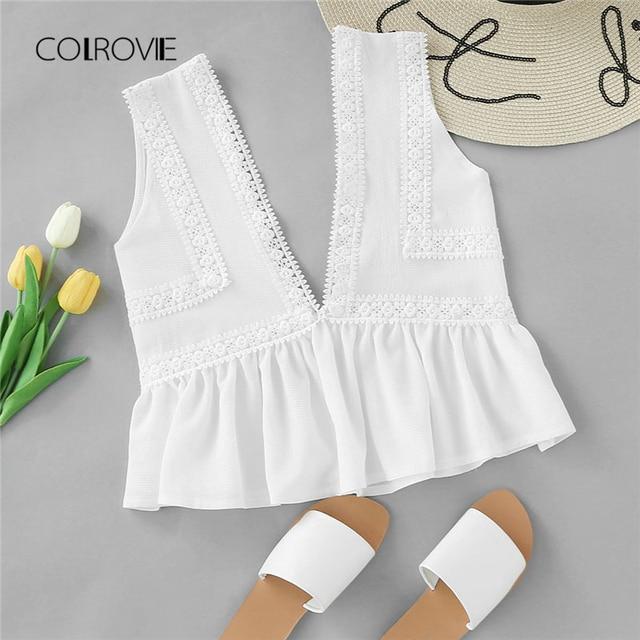 b5d6da63f1 COLROVIE Plunging V-neckline Lace Trim Frill Hem Top 2018 New White  Contrast Lace Ruffle